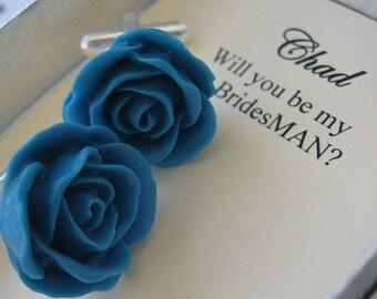 SPRING SALE Ask Bridesman, bestman gift. Set cufflinks rose flower. CHOOSE colour.