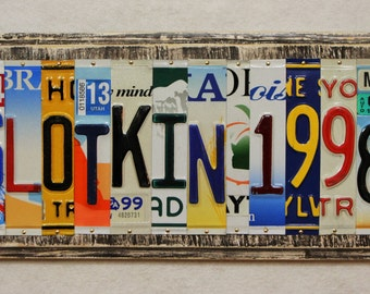 Last Name 7 Letters and Wedding Year Date Grad 10th 20th 30th 40th 50th Anniversary Gift Custom Made to Order License Plate Art Sign Plaque