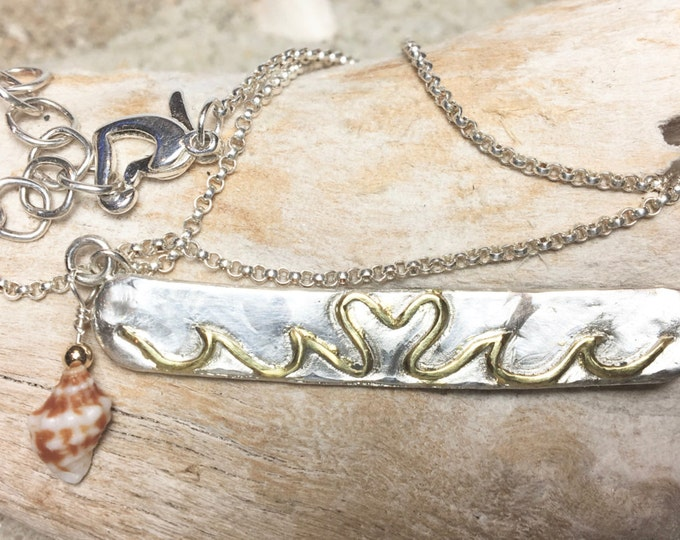 Sterling and Fine Silver Bar Necklace With Gold Plated Heart and Waves