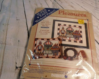 counted cross stitch kit , bird house trio, easy