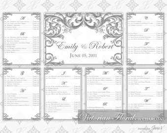 DIY Printable Wedding Seating Chart Template | Printable Seating Plan | Victorian Florals in Charcoal