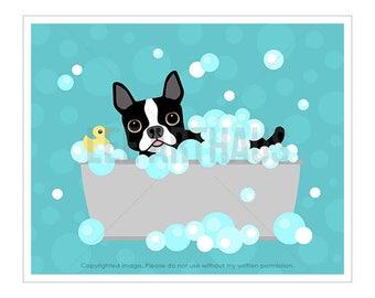 139D Dog Art Print - Boston Terrier in Gray Bathtub Wall Art Print - Funny Boston Terrier Print - Bath Art - Bathroom Prints - Dog Decor