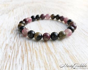 Tourmaline Bracelet, October Birthstone Bracelet, Mala Beads Bracelet, Gemstone Boho Bracelet, Buddhist Jewelry, Healing Crystal Bracelet