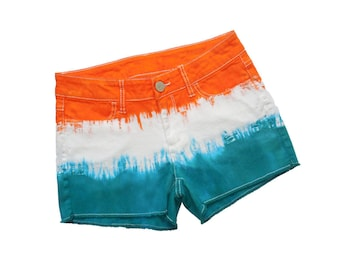 Orange + Aqua Tie-Dye Shorts