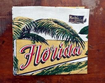 Vintage KayDee Florida Souvenir Linen Tea Towel, Unused