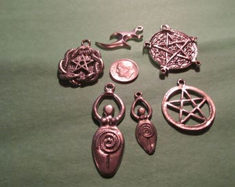 Six Pewter Wiccan Tribal Pentagram Goddess    Pendants