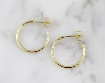"3/4"" Solid Gold Hand Forged Hoop Earrings - Gold Hoops - Solid 14k 18k 22k 24k"