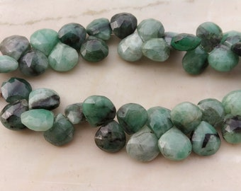25 pcs 10 mm Natural Earth mined Emerald Briolette faceted hearts