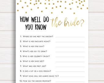 Do you Know the Bride, How Well do you Know the Bride Game, Bridal Shower Games, Do you Know the Bride to Be, Who Knows the Bride Best Game