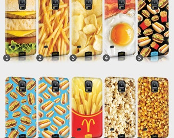Fast Food Burger Fries Phone Case For Samsung Galaxy Grand & Note Full Wrap Hard Cover Gift French Fries Keptchup Mustard Pickles Cheese