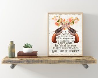 2nd Amendment Printable  Second Amendment Instant Download Digital Artwork  Feminine  Pro Gun Pistols Flowers Art For Women Girls PewPew