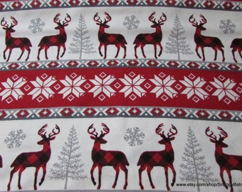Christmas Flannel Fabric - Buffalo Check Winter Stripe - By the yard - 100% Cotton Flannel