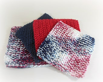Double Knit Washcloths Set of 4 in Patriotic Colors, Red, White, & Blue