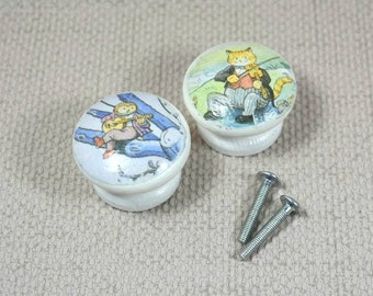 Large Nursery Knobs decoupaged with sweet Nursery Rhyme illustrations & hand painted with Farrow and Ball white eggshell - 4cm Dia