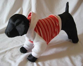 XS candy Cane stripe fleece dog hoddie
