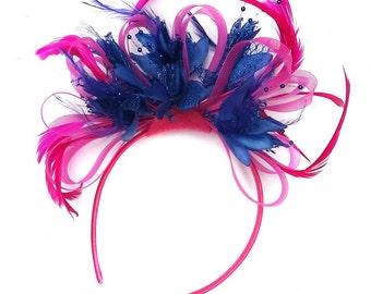 Fuchsia Hot Pink Hoop & Royal Blue Fascinator On Headband