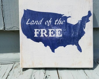 Rustic Land of the Free American wall art