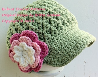 Newsboy Crochet Hat Pattern in Baby, Toddler, Kids and Adult Sizes available to download instantly No.207 English