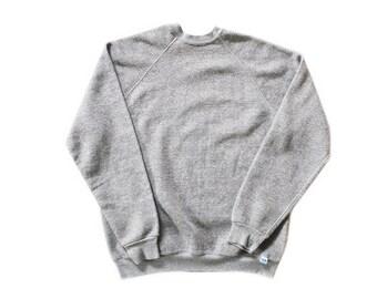 vintage sweatshirt / raglan sweatshirt / grey sweatshirt / 1980s heather grey tri blend raglan sweatshirt XL
