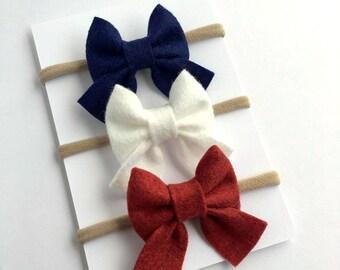Fourth of July Headband, Baby Headband, Sailor Headband, 4th of July Bow, Nylon Headband, Baby Bow, Girls Hair Bows, Newborn, Red White Blue