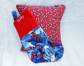 Spiderman Spider man gift set, Marvel comics gift, gift for men, cushion, pillow and stocking set, christmas stocking, personalised Daddy.