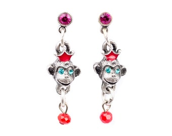 """The """"Monkey Business"""" Monkey Dangle Post Earrings"""