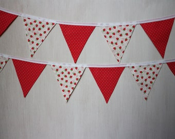 Red & White Strawberry Bunting