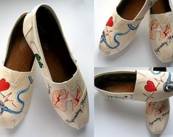 Nurse TOMS Women's Custom Therapist  Painted Doctor Healthcare TOMs Shoes Radiology Tech nurses custom toms Respiratory