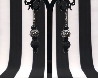 Black And Silver Punk Rock Gothic Metal Beaded Earrings
