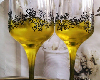 Set of 2 hand painted wedding flutes champagne glasses Classic Black and yellow Gatsby style