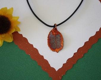 SALE Leaf Necklace, Copper Rose Leaf, Real Rose Leaf Necklace, Copper Leaf Pendant, SALE184