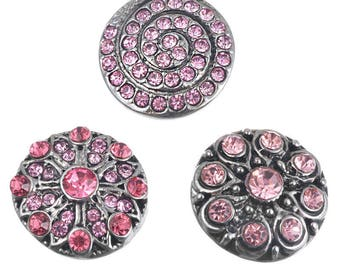 x 3 mixed buttons pression(pour bijoux) round rhinestone 20 mm antique silver metal rose tone