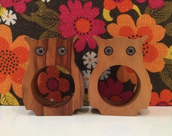 Pair of Vintage Wooden Owl Napkin Rings