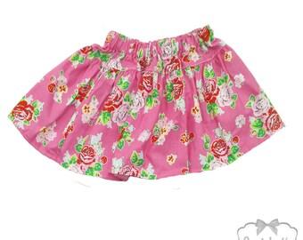 Rose Skirt Girl - Pink Roses Skirt - Shabby Floral Skirt - SALE Skirt Girls Size 2T 3T - Ready to Ship - Twirl Red Pink Skirt Sale Toddler