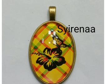Pendant yellow madras with flower and Butterfly pattern