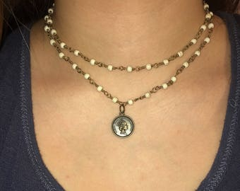 double strand coin necklace