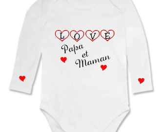 Bodysuit Love MOM and dad with hearts