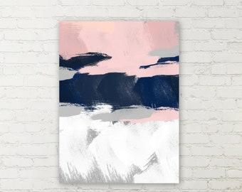 Canvas Wall Art, Navy Blue  Pink Grey White, Canvas Print