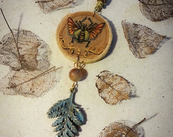 Natural wood pendant-hand painted-beetle and fern leaf