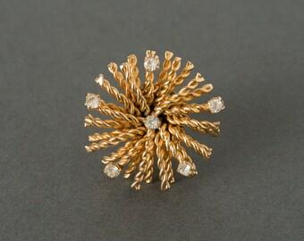 Vintage Tie  Tac Pin Gold and Rhinestone Starburst