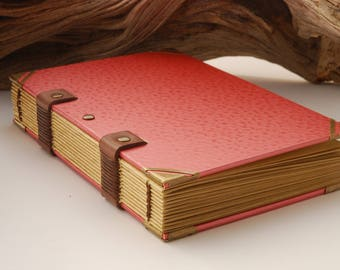 Grimoire A5 size, travel diary, notebook, 120 pages, cover hammered, Coptic binding
