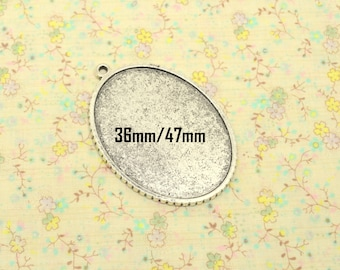 1pcs pendant base silver tone holder tray cabochon oval 36mm x 47 mm