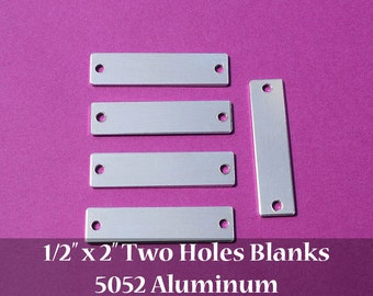 "10 - 5052 Aluminum 1/2"" x 2"" Rectangle Blanks - TWO HOLES - Polished Metal Stamping Blanks - 14G 5052 Aluminum"