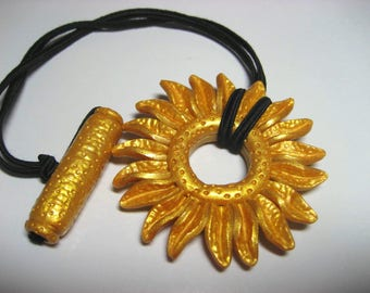 Gold Flower Hair tie or Ponytail Holder for Dreads Dreadlocks or Thick Hair or Sisterlocks Gold Daisy Textured