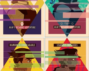 "11""x17"" print - JJBA Parts 1-4 Protagonists Jojo's Bizarre Adventure Phantom Blood Stardust Crusaders Diamond is Unbreakable"