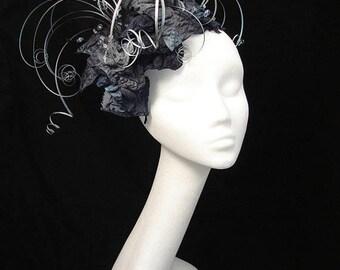 Silber grau Fascinator, Mutter der Braut, einzigartige Hut, Fascinator, schwarzen Hut