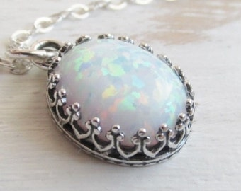 Sterling Silver Opal Necklace, White Opal Pendant Necklace, Sterling Silver Opal Jewelry, Opal Jewelry, October Birthstone Jewelry,Oval Opal