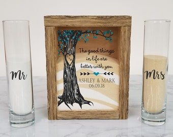 Rustic Unity Sand Ceremony Set Shadow Box, Unity Candle Alternative for Barn Wedding, Rustic Wedding, Country Wedding, or Woodlands Wedding