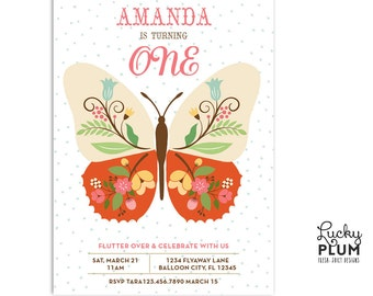 Butterfly Birthday Invitation / Animal Insect Bug Invite / Flower Invite / First Birthday Invite / Modern Butterfly Invite / *Digital file*