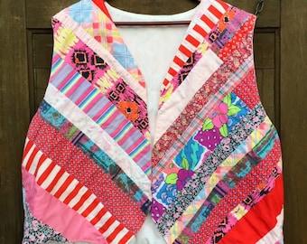 Vintage Handmade Quilted Patchwork Vest Size Large